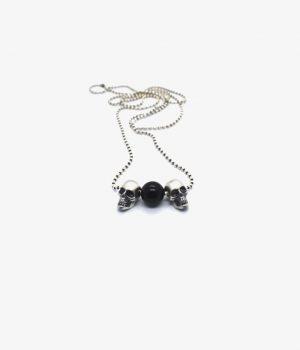 ανδρικό κολιέ από ασήμι & πέτρα black onyx manfistgr N0018M