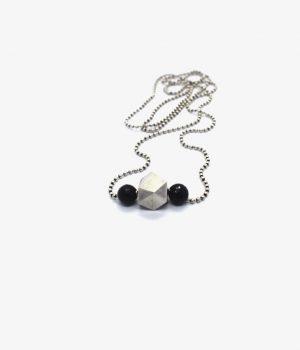 ανδρικό κολιέ από ασήμι & πέτρες black onyx manfistgr Ν0017Μ