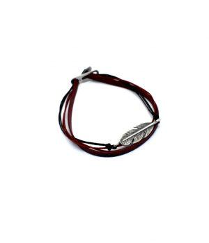 Βραχιόλι με ασημένιο φτερό και κορδόνια B0041M