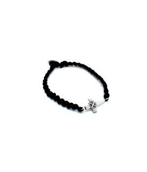 Βραχιόλι κομποσκοίνι με ασημένιο σταυρό και ασημένιο κούμπωμα B0118M