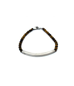 Βραχιόλι με ασημένιο (925'') στοιχείο πέτρες tiger eye & ασημένιο (925'') κούμπωμα B0143K