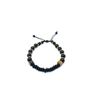 Βραχιόλι με πέτρες black onyx & hematite & tiger eye B0134