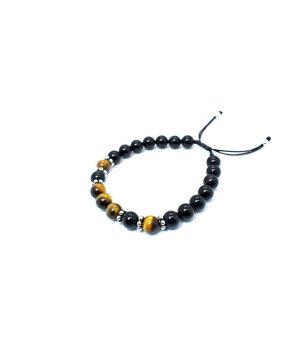 Βραχιόλι με πέτρες black onyx & tiger eye B0135