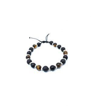 Βραχιόλι με πέτρες black onyx & lava & tiger eye B0128