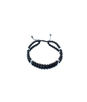 Βραχιόλι με πέτρες black onyx & hematite(silver) B0129