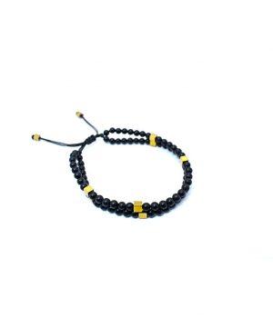 Βραχιόλι με πέτρες black onyx & hematite(gold) B0130