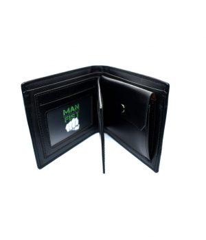 Ανδρικό μαύρο πορτοφόλι με κυματιστή υφή PORT02