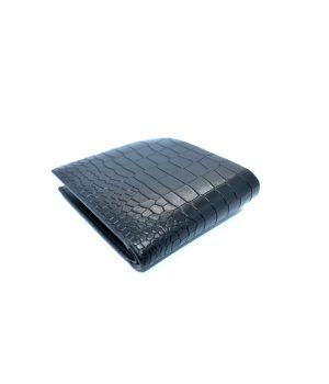 Ανδρικό μαύρο πορτοφόλι με ανάγλυφο σχέδιο όψης ερπετού PORT06