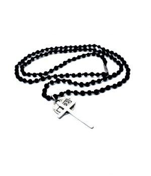 Ανδρικό κολιέ ''ροζάριο'' σταυρός από ασήμι (925'') με πέτρες black onyx & lava N0090