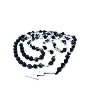 Ανδρικό κολιέ ''ροζάριο'' κεραυνός από ασήμι με πέτρες jasper zebra & larvikite N0083