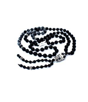 Ανδρικό κολιέ ''ροζάριο'' νεκροκεφαλή από ασήμι με πέτρες obsidian snow flake & black onyx N0082