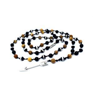 Ανδρικό κολιέ ''ροζάριο'' βέλος από ασήμι με πέτρες black onyx, picture jasper & agate tibet stripe N0050