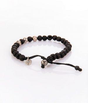 Βραχιόλι με ασημένιες (925'') χάντρες & πέτρες black lava B000218