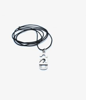 Ανδρικό κολιέ ''2020'' από ασήμι (925'') με κορδόνι & ασημένιο κούμπωμα (925'') N0078M1