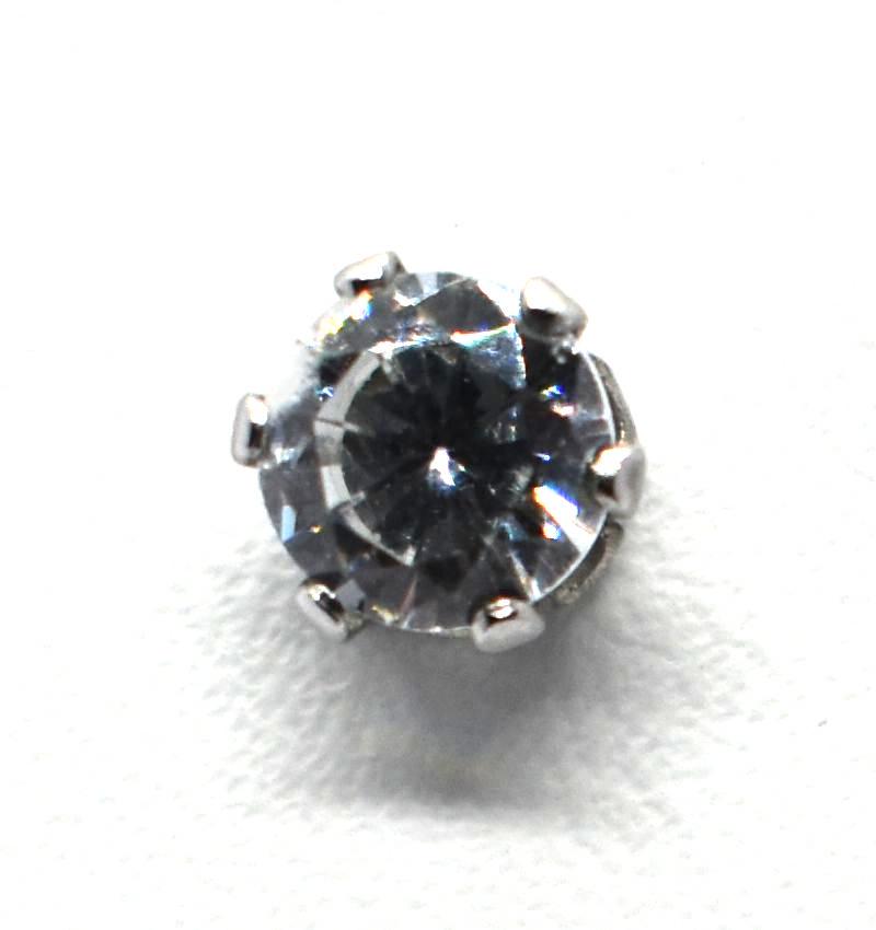 Σκουλαρίκια strass με πέτρα από ζιργκόν & ατσάλι (3mm) THT013