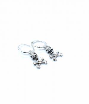 Σκουλαρίκια ασημένια (925'') με νεκροκεφαλή & κρικάκι (1,2Χ12mm) SL5495