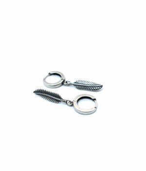 Σκουλαρίκια ασημένια (925'') με φτερό (21mm) & κρικάκι (2,00Χ14mm) E0007M
