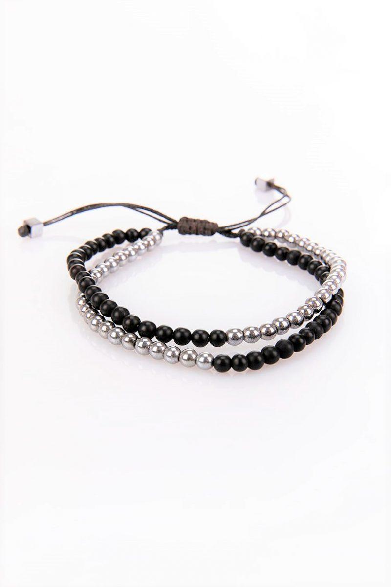 Βραχιόλι με πέτρες black onyx & hematite (silver) B000196