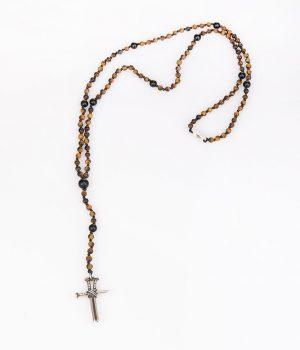 Ανδρικό κολιέ ''ροζάριο'' σταυρός με καρφιά από ασήμι (925'') με πέτρες tiger-eye & black onyx N000097