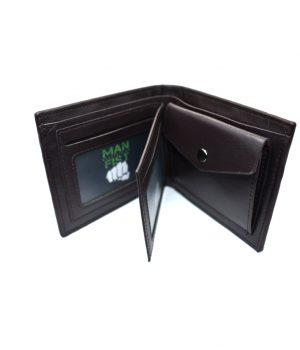 Ανδρικό καφέ πορτοφόλι με ανάγλυφη επιφάνεια PORT10