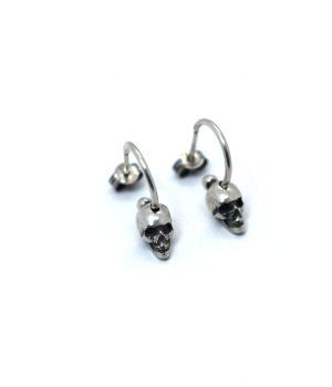 Σκουλαρίκια ''κρεμαστό'' νεκροκεφαλή από ασήμι (925'') & ασημένιο (925'') κούμπωμα E00011M